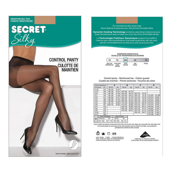 Secret Silky Control Top Panty Hose - D - Neutral