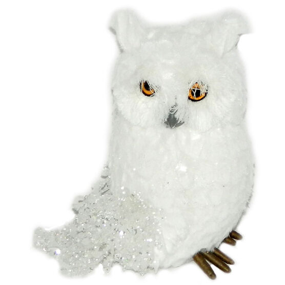 Christmas Forever Sitting Owl - 6in - White - XM-ZA2452SP