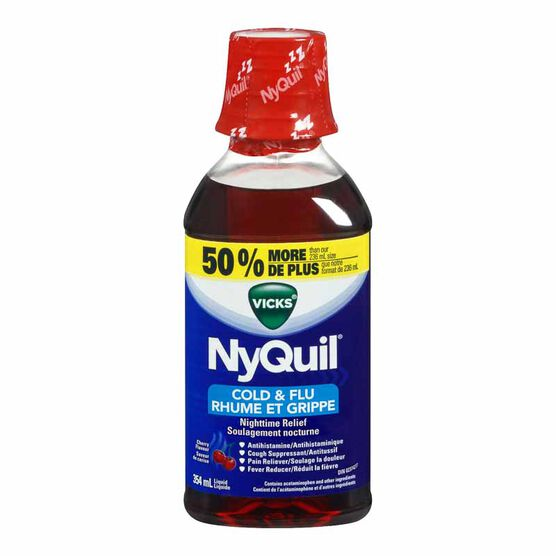 Vicks Nyquil Liquid for Cold and Flu - Cherry - 354ml