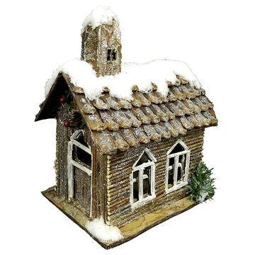 Christmas Forever Cabin with Snow - 18 inch