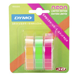 Dymo Embossing Neon Labels - 3 pack
