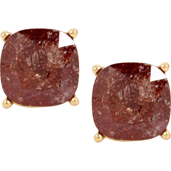 Haskell Round Stud Earrings - Brown/Gold