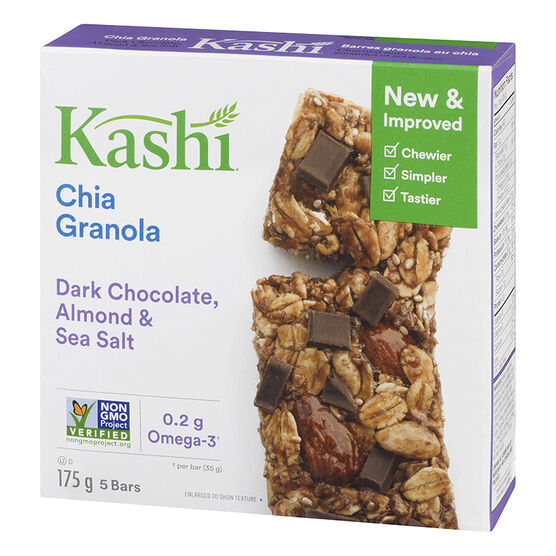 Kashi Chewy Chia Granola Bar - Dark Chocolate Almond & Sea Salt - 5 pack - 175g