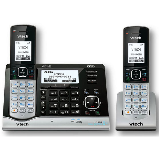 Vtech DECT 6.0 Connect to Cell Cordless Phone with Caller ID - Black Silver - DS62912