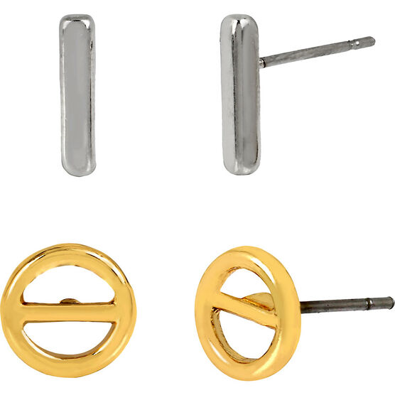 Kenneth Cole Stud Earrings Duo - Two Tone