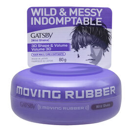 Gatsby Moving Rubber Hair Wax Wild Shake - 3D Shake & Volume - 80g