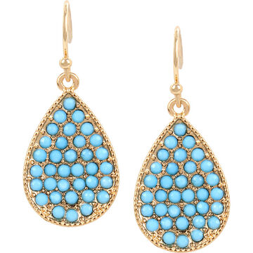 Haskell Pave Teardrop Earrings - Turquoise/Gold