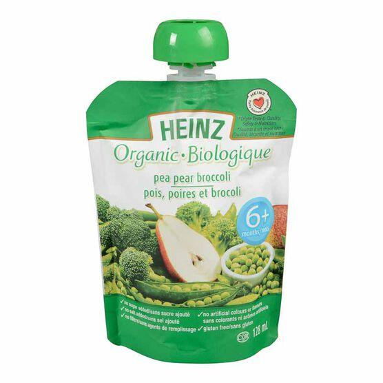 Heinz Organic Baby Food Pouch - Pea/Pear/Broccoli - 128ml