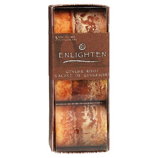 Enlighten Mini Pillar Candles - Ginger Root - 3 pack
