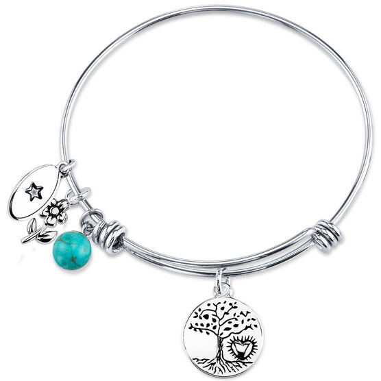 UNWRITTEN Stainless Steel Love Life Expandable Bangle