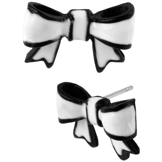 Betsey Johnson Black & White Bow Earrings