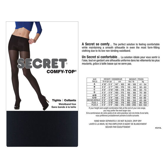 Secret No-Waistband Tights - D - Black