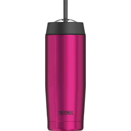 Thermos Vacuum Insulated Cold Cup with Straw - Pink Stainless Steel - 470 mL