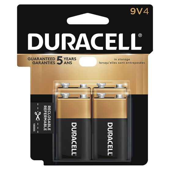 Duracell CopperTop 9V Alkaline Batteries -  4 pack