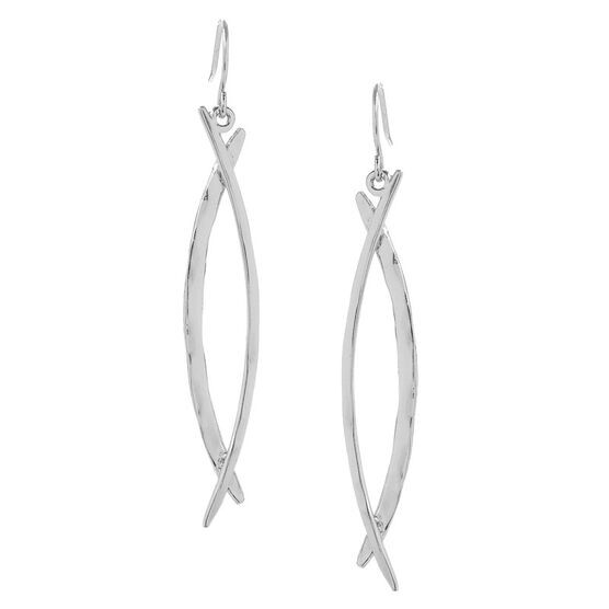 Kenneth Cole Shiny Linear Drop Earrings - Silver Tone