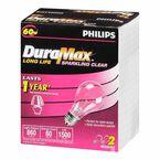 Philips 60W DuraMax Clear Light Bulb - 2 pack