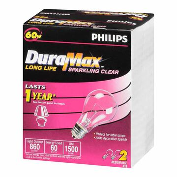 Philips 60W DuraMax Clear Light Bulb - 2 pack