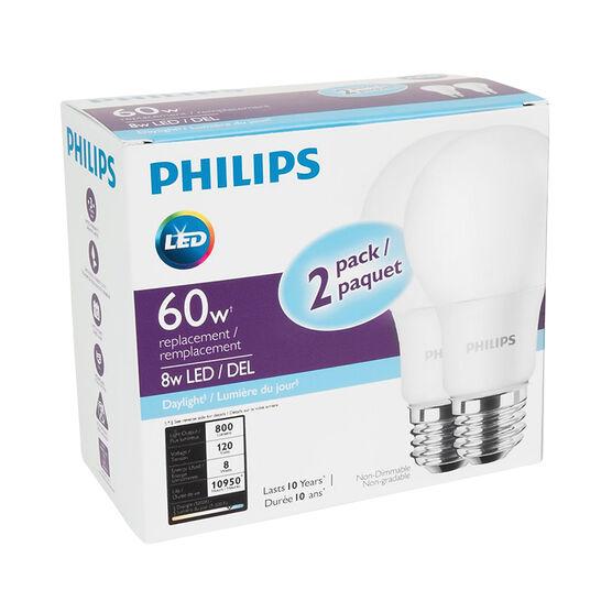 Philips A19 LED Light Bulb - Daylight - 8w/60w
