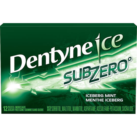 Dentyne Ice Sub Zero Gum - Iceberg Mint - 12 pieces