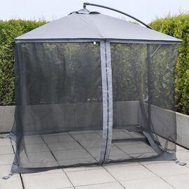 Roma Umbrella with Net - Grey - 8 x 10ft