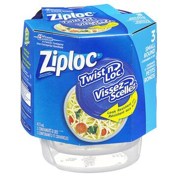 Ziploc Twist 'n Loc - Small - 3 Containers & Lids