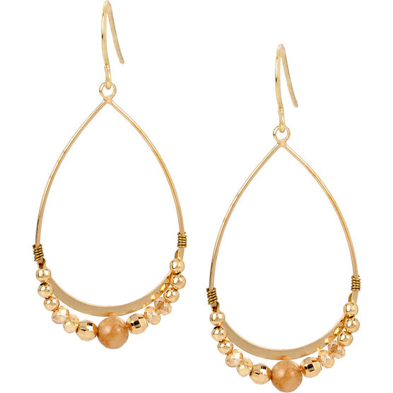 Haskell Beaded Teardrop Earrings - Neutral/Gold