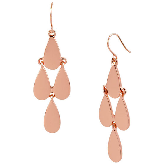 Kenneth Cole Teardrop Chandelier Earrings - Rose Gold Tone