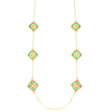 Haskell Spaced Necklace - Turquoise/Gold