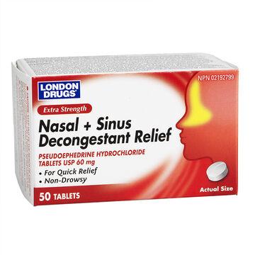London Drugs Nasal + Sinus Decongestant Relief 60mg - Extra Strength - 50's