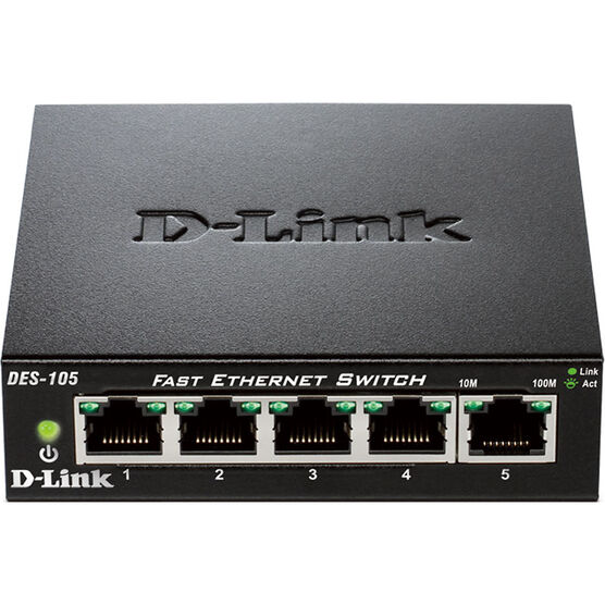D-Link 5-Port 10/100Mbps Fast Ethernet Switch - DES-105