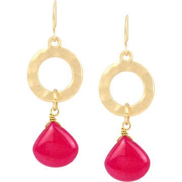 Haskell Circle Drop Earrings - Fuchsia/Gold