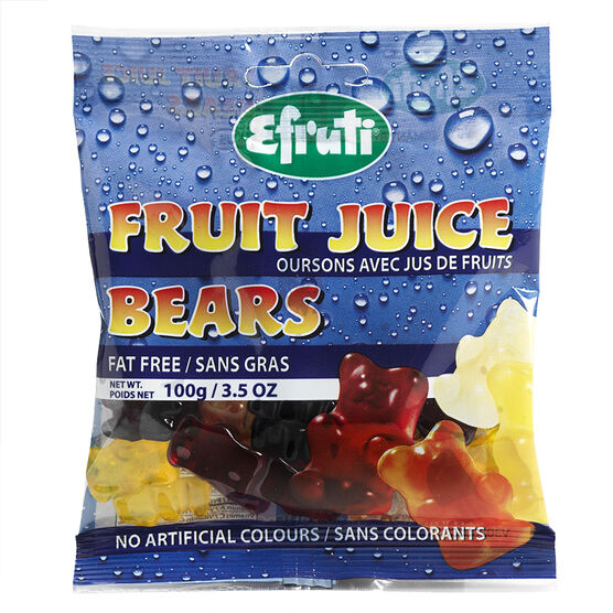 Efruti Gummi-Sweets Fruit Juice Bears - 100G