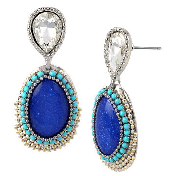 Haskell Stone Crystal Earrings - Blue/Rhodium