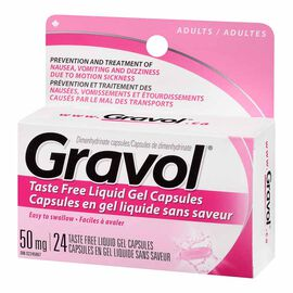Gravol Adults Taste Free Liquid Gel Capsules 50mg - 24's