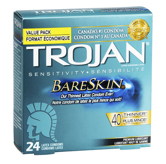 Trojan Bareskin Lubricated Condoms - 24's