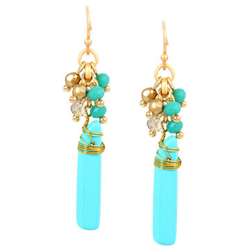 Haskell Beaded Cluster Earrings - Turquoise/Gold