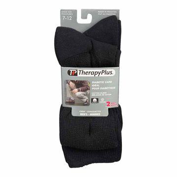 TherapyPlus Men's Diabetic Crew Socks - Shoe Size 7-12 - Black - 2 pairs