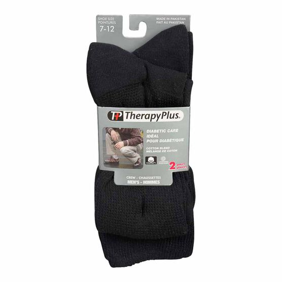 TherapyPlus Men's Diabetic Crew Socks - Shoe Size 7-12 - Black - 2 pairs