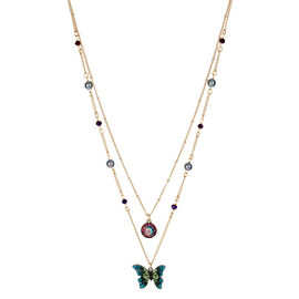 Betsey Johnson 3 Row Butterfly Necklace - Multi