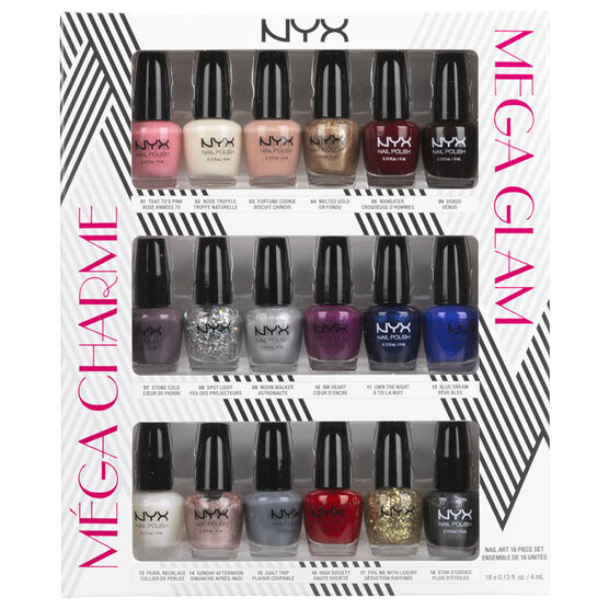 NYX Professional Makeup Mega Glam Nail Polish Set - 18 Piece