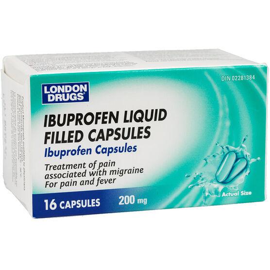 London Drugs Ibuprofen 200mg - 16 liquid gel capsules