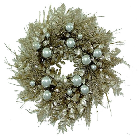 """Winter Wishes Champagne Wreath - 24"""""""