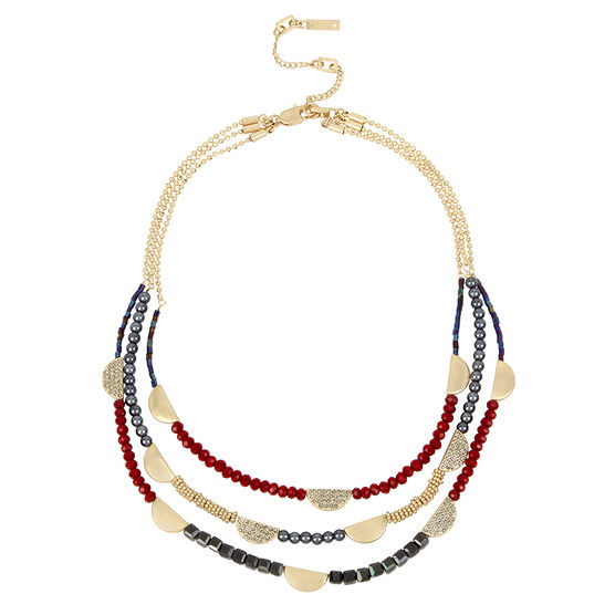 Kenneth Cole Triple Row Necklace - Berry/Gold