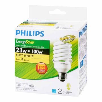 Philips 23W Compact Fluorescent Lighting Light Bulb - Soft White - 2 pack