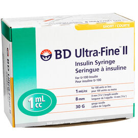 BD Ultra Fine II Insulin Syringes - 30 guage - 8mm - 100's