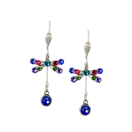 Anne Koplik Small Blue Multi-Coloured Dragonfly Earrings
