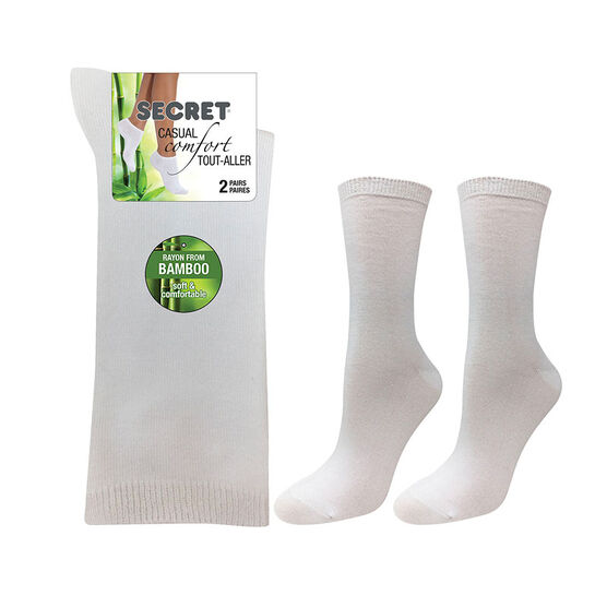 Secret Nature Bamboo 3/4 Socks - White - 2 pair
