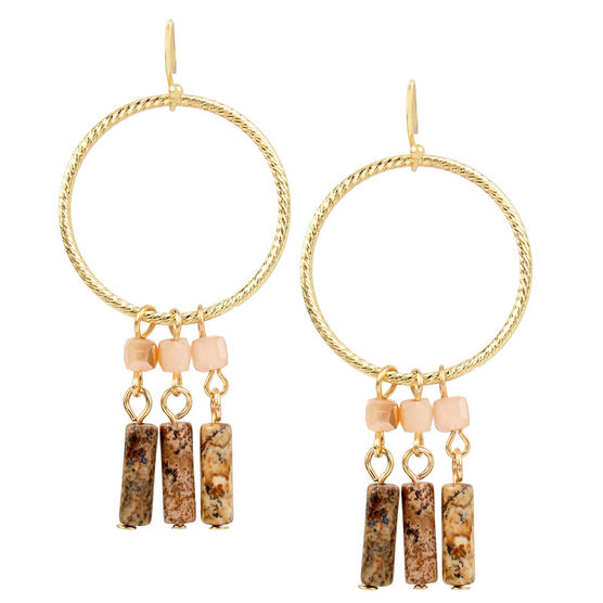 Haskell Beaded Hoop Earrings - Neutral/Gold