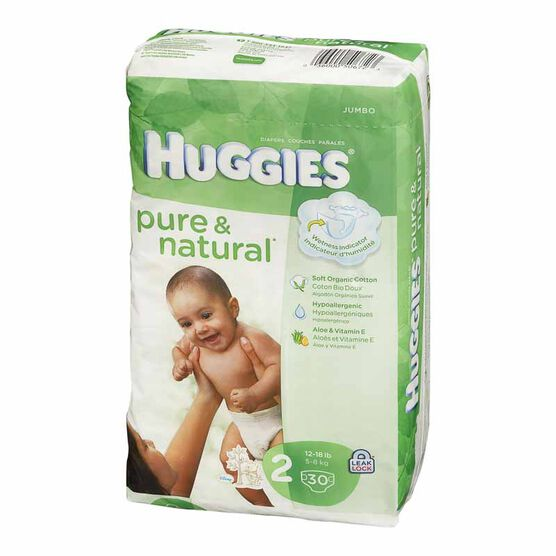 Huggies Pure & Natural Diapers - Step 2 - 30's