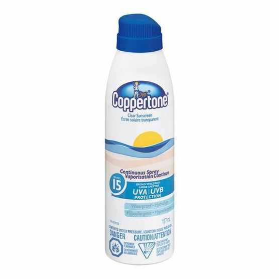 Coppertone Clear Sunscreen Continuous Spray - SPF 15 - 177ml